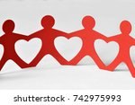 paper people chain   unity and... | Shutterstock . vector #742975993