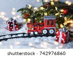 christmas greeting card with... | Shutterstock . vector #742976860