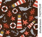 sea marine fish lighthouse... | Shutterstock .eps vector #742979149
