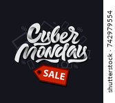 cyber monday sale design with... | Shutterstock .eps vector #742979554
