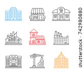 city buildings linear icons set.... | Shutterstock . vector #742980880