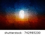 fingerprint scanning technology ... | Shutterstock . vector #742985230