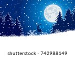 winter christmas forest with... | Shutterstock .eps vector #742988149