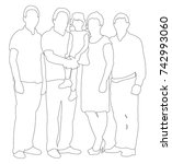 sketches  contours people family | Shutterstock . vector #742993060