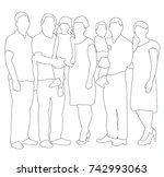 sketches  contours people... | Shutterstock . vector #742993063