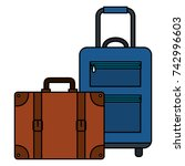 suitcase travel isolated icon | Shutterstock .eps vector #742996603