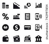 16 vector icon set   coin stack ...   Shutterstock .eps vector #742997854
