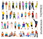 lots of men women and children | Shutterstock . vector #74299822