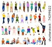 lots of men women and children | Shutterstock . vector #74299822