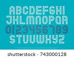 stencil alphabet letters and... | Shutterstock .eps vector #743000128