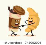 funny cartoon characters coffee ... | Shutterstock .eps vector #743002006
