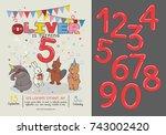invitation card for children's... | Shutterstock .eps vector #743002420