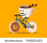cup of coffee riding bicycle... | Shutterstock .eps vector #743002423