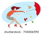 girl with an umbrella blows by... | Shutterstock .eps vector #743006590