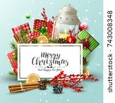christmas background with... | Shutterstock .eps vector #743008348