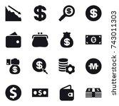 16 vector icon set   crisis ... | Shutterstock .eps vector #743011303