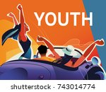 youth  a company of young... | Shutterstock .eps vector #743014774