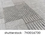tactile pavement for blindness... | Shutterstock . vector #743016730