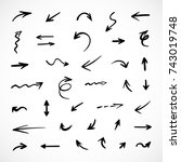 hand drawn arrows  vector set | Shutterstock .eps vector #743019748