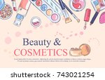 sketch of cosmetics products ... | Shutterstock .eps vector #743021254