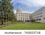 salem oregon capitol building... | Shutterstock . vector #743025718