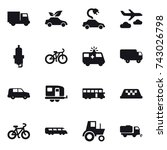 16 vector icon set   truck  eco ... | Shutterstock .eps vector #743026798