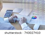 businessman analysing... | Shutterstock . vector #743027410