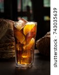 cola in glass with straw and... | Shutterstock . vector #743035639