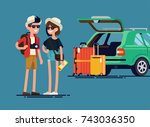 young travelers couple ready... | Shutterstock .eps vector #743036350