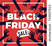 funny vector black friday sale  ... | Shutterstock .eps vector #743037013
