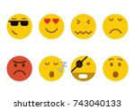 set of emoticons. set of emoji. ... | Shutterstock .eps vector #743040133