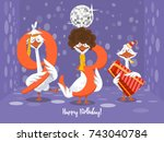 two goose holding the number 93....   Shutterstock .eps vector #743040784