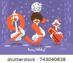 two goose holding the number 95....   Shutterstock .eps vector #743040838