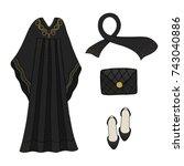 traditional islamic dress.... | Shutterstock .eps vector #743040886