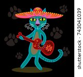 Stock vector cat playing guitar with sombrero and mariachi guitar 743041039