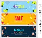 memphis style banner design set ... | Shutterstock .eps vector #743044270