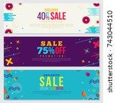 memphis style banner design set ... | Shutterstock .eps vector #743044510