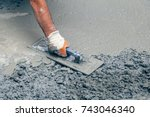 hand builder with trowel... | Shutterstock . vector #743046340