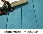 bible crucifix and beads on a... | Shutterstock . vector #743050834