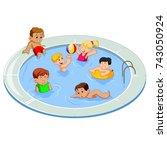 vector illustration of happy... | Shutterstock .eps vector #743050924