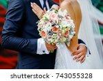 a wedding bouquet of light... | Shutterstock . vector #743055328