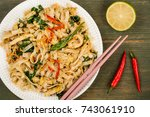 thai style chicken pad thai... | Shutterstock . vector #743061910