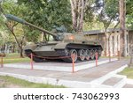 Tank at Reunification Palace (Independence Palace) in Ho Chi Minh City former Saigon in Vietnam
