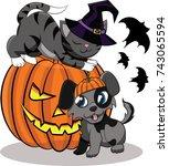 pumpkin for halloween  cat and...   Shutterstock .eps vector #743065594
