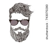 hipster a bearded man in... | Shutterstock .eps vector #743070280
