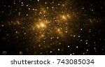 abstract golden sparks on black ... | Shutterstock . vector #743085034