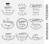 hand drawn happy birthday...   Shutterstock .eps vector #743106484