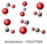 co2 carbon dioxide molecule 3d... | Shutterstock .eps vector #743107348