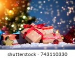 view of a christmas background... | Shutterstock . vector #743110330