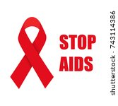 stop aids. aids awareness red... | Shutterstock .eps vector #743114386